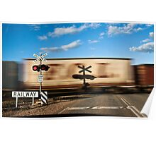 Rail Crossing and Frieght Train Poster