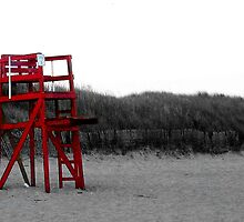 Red Lifeguard Chair by Jane Neill-Hancock