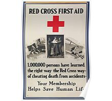 Red Cross first aid 1000000 persons have learned the right waythe Red Cross wayof cheating death from accidents Poster