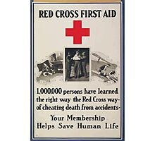 Red Cross first aid 1000000 persons have learned the right waythe Red Cross wayof cheating death from accidents Photographic Print