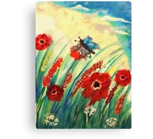 Poppies in the breeze, watercolor Canvas Print