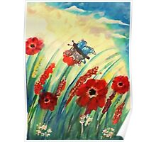 Poppies in the breeze, watercolor Poster