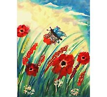 Poppies in the breeze, watercolor Photographic Print