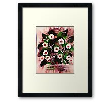 Vase of white flowers, watercolor Framed Print