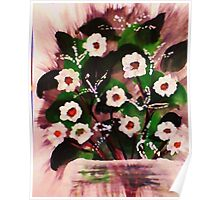 Vase of white flowers, watercolor Poster