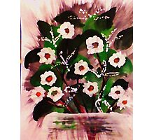 Vase of white flowers, watercolor Photographic Print