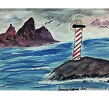 1st lighthouse, revised, watercolor Photographic Print