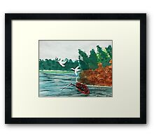 Fishing  day!  revised, watercolor Framed Print