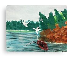 Fishing  day!  revised, watercolor Canvas Print