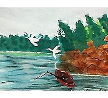 Fishing  day!  revised, watercolor Photographic Print