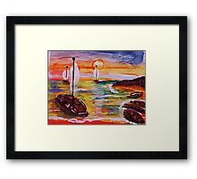 Into the cove, revised, watercolor Framed Print