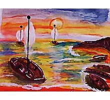 Into the cove, revised, watercolor Photographic Print