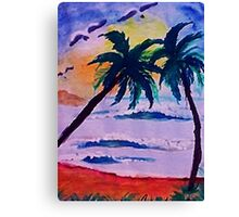 A day at the sea, watercolor Canvas Print