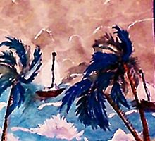 Trying to dock before the storm, recised, watercolor by Anna  Lewis