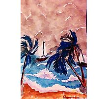 Trying to dock before the storm, recised, watercolor Photographic Print