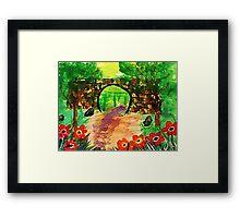 Path under bridge, revised, watercolor Framed Print