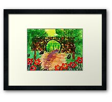 Path under bridge, revised, watercolor Framed Print