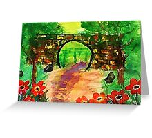 Path under bridge, revised, watercolor Greeting Card