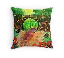 Path under bridge, revised, watercolor Throw Pillow