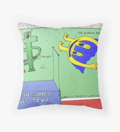 Le saut en hauter par le sot Euroman Throw Pillow