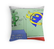 Euroman and the high jump Throw Pillow