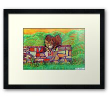 359 - CAT ON A DRY-STONE WALL - DAVE EDWARDS - COLOURED PENCILS - 2012 Framed Print