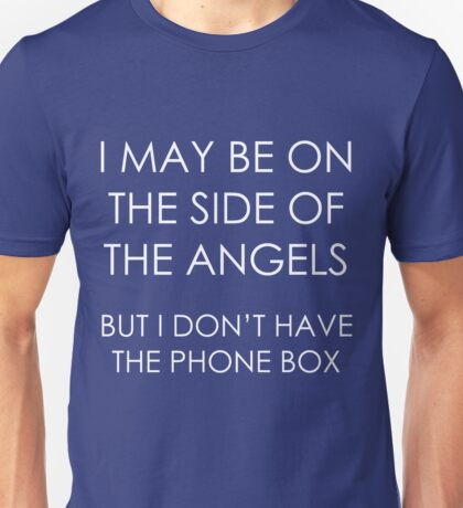 Wholock: angels and phone boxes (white) Unisex T-Shirt