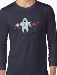 Yukon, Hermey and the Bumble in Teal Long Sleeve T-Shirt