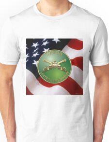 U.S. Army Armor - Branch Insignia over U. S. Flag Unisex T-Shirt