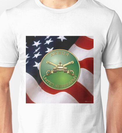 U.S. Army Armor - Branch Insignia over U. S. Flag Unisex T-Shirt