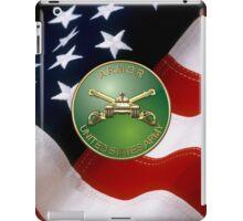 U.S. Army Armor - Branch Insignia over U. S. Flag iPad Case/Skin