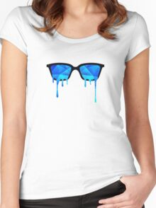 Abstract Polygon Multi Color Cubizm Painting in ice blue Women's Fitted Scoop T-Shirt