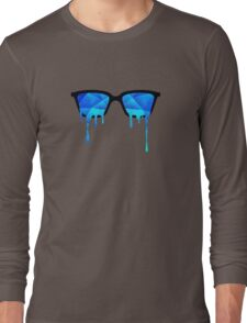 Abstract Polygon Multi Color Cubizm Painting in ice blue Long Sleeve T-Shirt