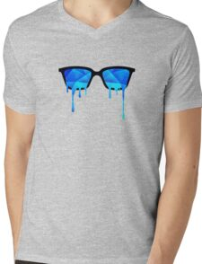 Abstract Polygon Multi Color Cubizm Painting in ice blue Mens V-Neck T-Shirt