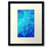 Abstract Polygon Multi Color Cubizm Painting in ice blue Framed Print