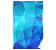 Abstract Polygon Multi Color Cubizm Painting in ice blue Poster