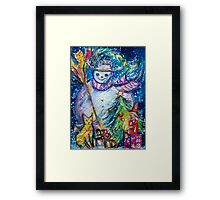 SNOWMAN WITH CHRISTMAS TREE, OWL AND TOYS Framed Print