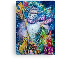SNOWMAN WITH CHRISTMAS TREE, OWL AND TOYS Canvas Print