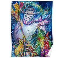 SNOWMAN WITH CHRISTMAS TREE, OWL AND TOYS Poster