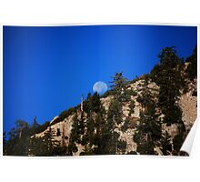 Moonset On Mt. Baldy Poster