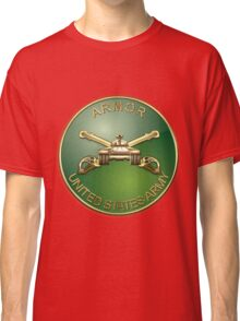 U.S. Army Armor - Branch Insignia over Red Velvet Classic T-Shirt