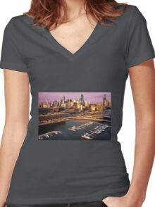 Melbourne city and Docklands at sunset Women's Fitted V-Neck T-Shirt