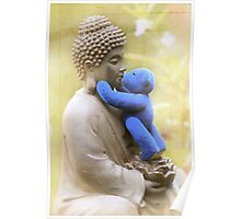 Blue Bear loves Buddha Poster