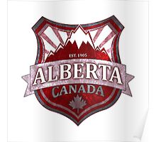 Alberta Canada red grunge shield Poster