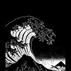Black & White Hokusai Great Wave by helveticate