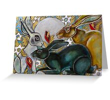 Three Moon Gazing Hares Greeting Card