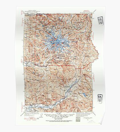 USGS Topo Map Washington State WA Mt Rainier 242667 1924 125000 Poster