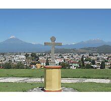 Cross with 2 Volcanoes Photographic Print