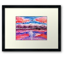 #3 Pink sunset in abstract, revised, watercolor Framed Print