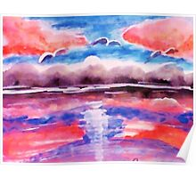 #3 Pink sunset in abstract, revised, watercolor Poster